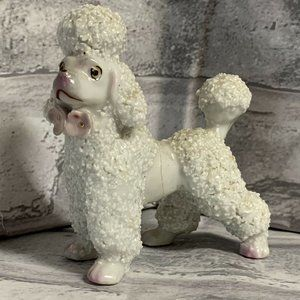 Poodle Figurine FLAW Vintage White Pink Flowers